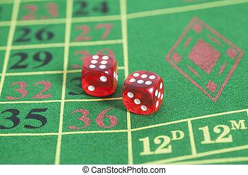 tekercs, közül, a, piros, dobókocka, képben látható, egy, játék, asztal, alatt, egy, kaszinó