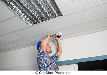 tekniker, fastlægge, kamera security
