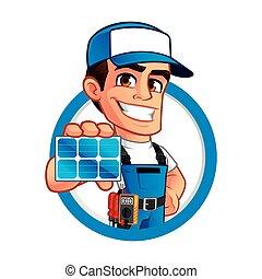 tekniker, installerare, paneler, sol