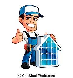 tekniker, paneler, installerare, sol