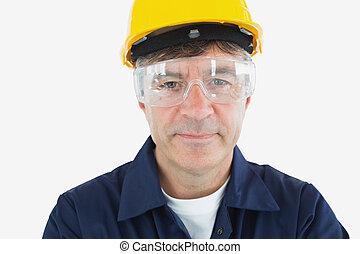 tekniker, tröttsam, skyddande glasögon, och, hardhard
