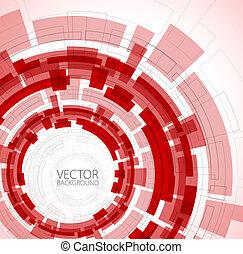 teknisk, abstrakt, röd fond