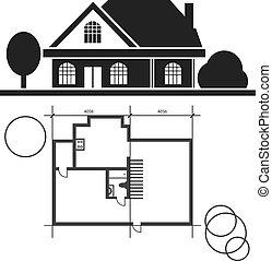 teknisk, hus, rita, vektor