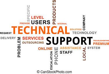 teknisk, ord, stöd, -, moln
