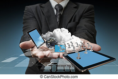 teknologi, affärsmän, räcker