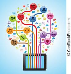 teknologi, app, træ, tablet