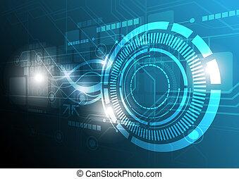 teknologi, begreb, konstruktion, digitale