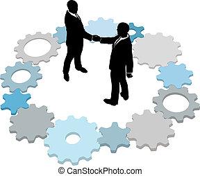 teknologi branche, det gears, deal, folk