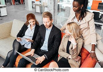 teknologi, hand, conversation., affärsfolk