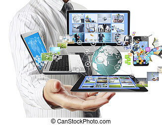 teknologi, ind, den, hænder