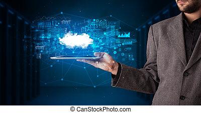 teknologi, moln, räcka lämna, begrepp, kompress