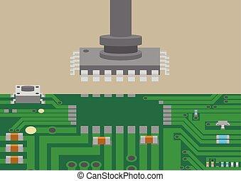 teknologi, montera, komponent, placering, yta