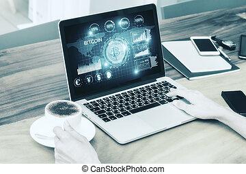 teknologi, och, digital bankrörelse, begrepp