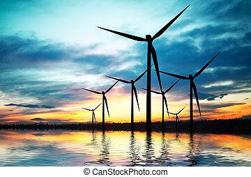 teknologi, och, miljö