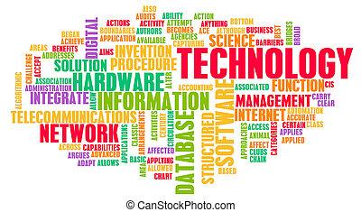 teknologi, ord, moln