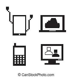 teknologiske, iconerne, pixel