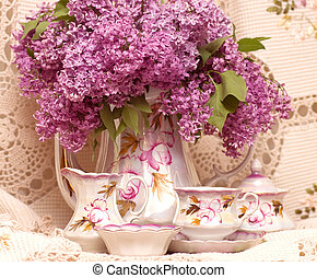 tekopp, Årgång, Blomstrar, fjäder