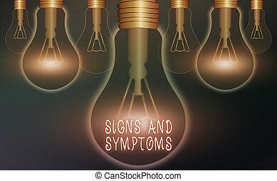 tekst, abnormalities, concept., schrijvende , meldingsbord, idee, tekens & borden, denken, symptoms., zakelijk, aanwijzen, medisch, oplossing, woord, voorwaarde, gloeilampen, ouderwetse , concept, realistisch, waarschijnlijk, gekleurde