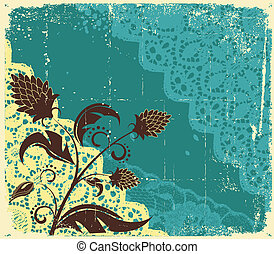 tekst, abstract, kaart, floral, vector, achtergrond., ouderwetse