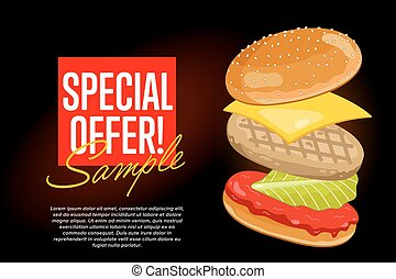 tekst, abstract, zwarte achtergrond, hamburger