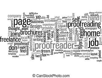 tekst, achtergrond, willen, zijn, concept, freelance, u, wordcloud, denken, zo, corrector