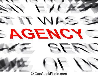 tekst, agentschap, brandpunt, blured