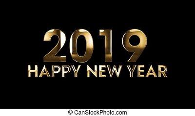 tekst, -, animatie, 2019, jaar, nieuw, vrolijke
