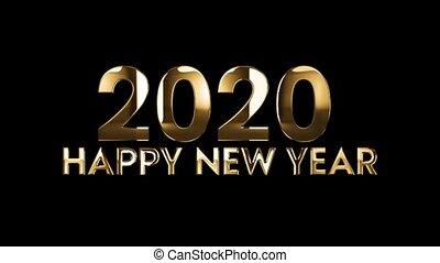 tekst, -, animatie, 2020, jaar, nieuw, vrolijke