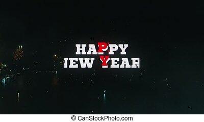 tekst, -, animatie, nieuw, year!, vrolijke
