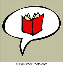 tekst, balloon, boek, open, spotprent, rood