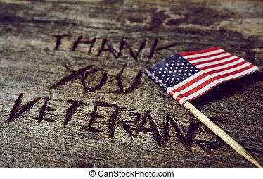 tekst, bedankt, veteranen, en, de, vlag van de v.s.
