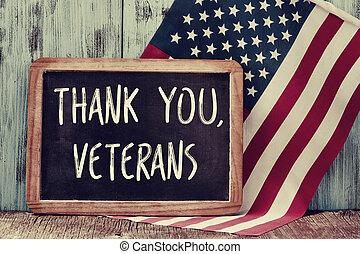 tekst, bedankt, veteranen, in, een, chalkboard, en, de, vlag...