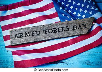 tekst, bevæbne fremtvinge, dag, og, de forenede stater flag
