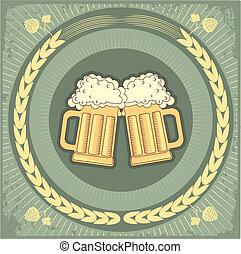 tekst, bier, grunge, background.vector, illustratie