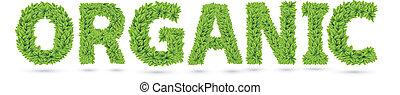 tekst, bladeren, organisch, groene