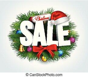 tekst, bladeren, verkoop, decoraties, bevordering, kerstmis, 3d