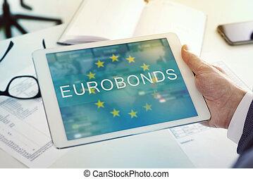 tekst, bureau, eurobonds, tablet, man