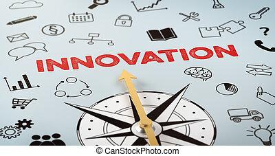 tekst, busola, innowacja, -, ikony