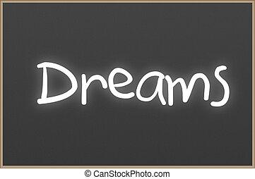 tekst, chalkboard, śni