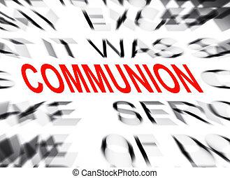 tekst, communie, brandpunt, blured