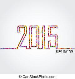 tekst, creatief, ontwerp, jaar, 2015, nieuw, vrolijke