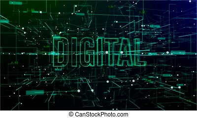 tekst, digitale animatie, 'digital', ruimte