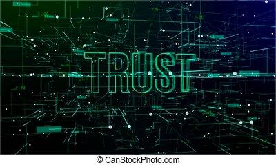 tekst, digitale animatie, 'trust', ruimte