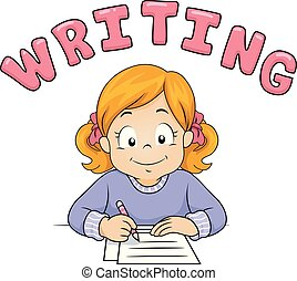 tekst, dziewczyna, koźlę, ilustracja, pisanie