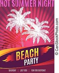 tekst, flyer, ontwerp, feestje, plek, strand