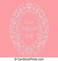 tekst, frame, uitnodiging, vector, trouwfeest, floral, sparen, kaart, date.