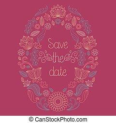 tekst, frame, vector, trouwfeest, floral, sparen, kaart, date.