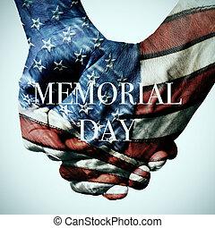 tekst, gedenkteken, amerikaanse vlag, dag