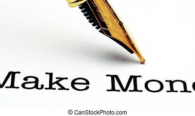 tekst, geld, pen, maken, fontijn