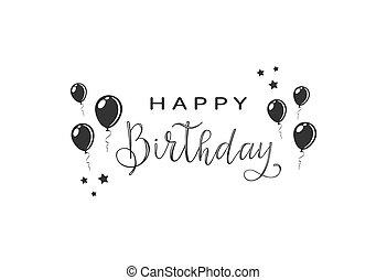 tekst, gelukkige verjaardag, met, ballons